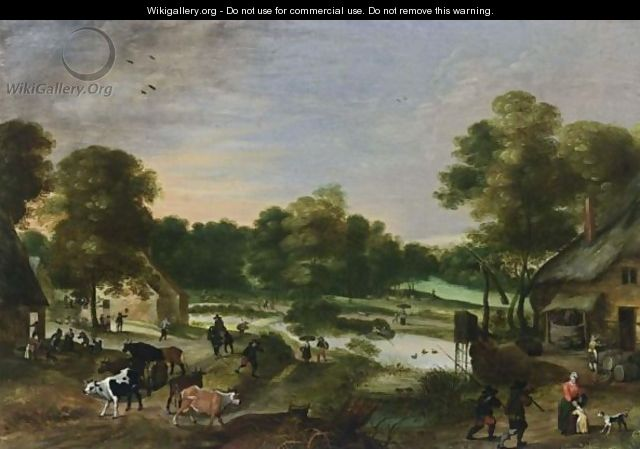 A Village Scene In A Landscape Setting With A Shepherd And His Flock In The Foreground, Together With Anglers And A Small River With Boats Nearby - Antwerp School