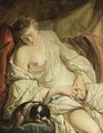 A Half-Naked Lady Reclining Together With A Dog - (after) Jean Baptiste Henri Deshayes De Colleville