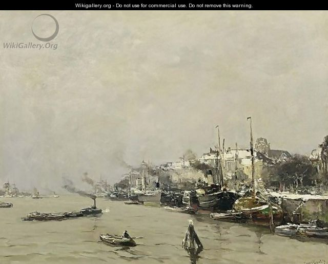 A View Of Dordrecht In Winter - Louis Apol