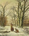Women Gathering Wood In A Winter Landscape - Hendrik Barend Koekkoek