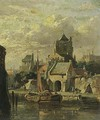 A Town View With A Moored Boat - Adrianus Eversen