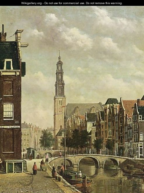 A View Of The Prinsengracht With The Westerkerk, Amsterdam - Oene Romkes De Jongh