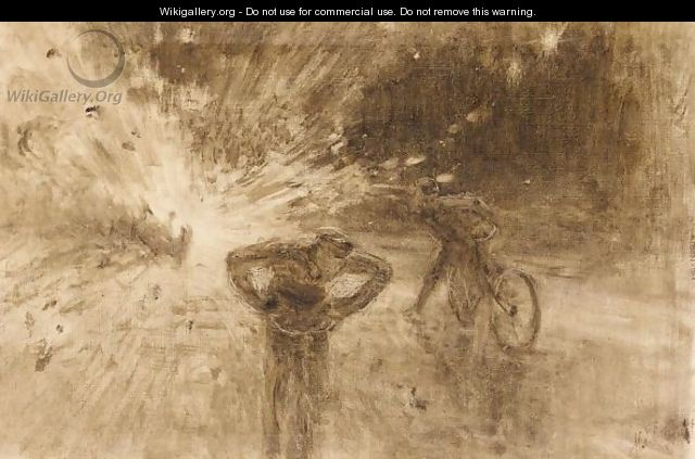 Monochrome Sketch Of The Terrorist Attack In 1916 On King Albert I Of Belgium - Ilya Efimovich Efimovich Repin