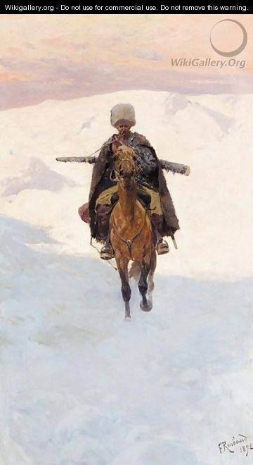 Mounted Cossack On A Mountain Pass - Franz Roubaud