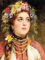 Russian Beauty In Summer Garland - Konstantin Egorovich Egorovich Makovsky