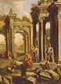 Capriccio Of A Ruined Corinthian Temple With Figures, A Landscape Beyond - Alberto Carlieri