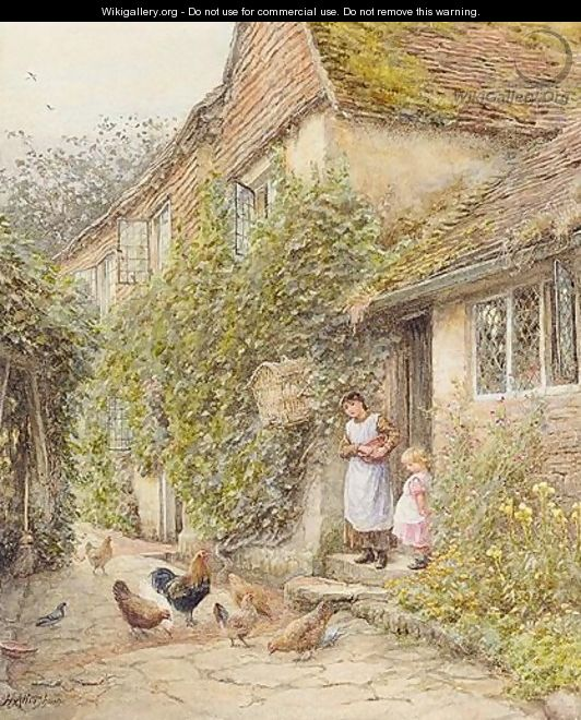 Feeding Fowl - Helen Mary Elizabeth Allingham, R.W.S.