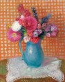 Flowers With Checkered Background - William Glackens