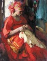 Russian Beauty At Her Embroidery - Abram Efimovich Arkhipov