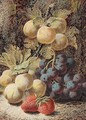 Still Life Of Plums, Grapes And Strawberries - Oliver Clare