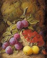 Still Life Of Apples, Plums And Strawberries In Basket - George Clare