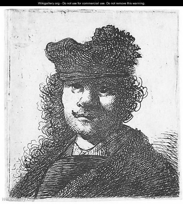Self Portrait In Cap And Dark Cloak Bust - Rembrandt Van Rijn