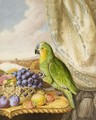 A Parrot Eating From A Bowl Of Grapes, Plums, Peaches And Strawberries, A River Landscape Beyond - Augusta Innes Withers