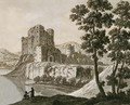 A Ruined Castle By A Lake - Robert Adam