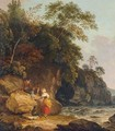 A View In Suffolk With Figures In The Foreground By A Stream - Richard Corbould