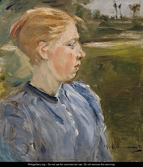 Blue Girl In Landscape-Farmgirl - Max Liebermann