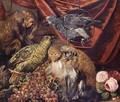 Monkeys And Parrots With A Bunch Of Grapes And Flowers - Italian School