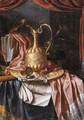 A Still Life Of A Gilt Ewer, A Gilt Plate, Prints And Writing Materials All Resting On A Draped Table - Franciscus Gysbrechts