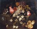 Still Life Of Fruit And Flowers Resting On A Stone Ledge With Mushrooms In The Foreground - (after) Abraham Brueghel