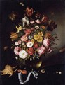 Still Life Of Flowers In A Glass Vase With Butterflies, Seashells And A Pocket Watch - Adriaen Pietersz. Van De Venne