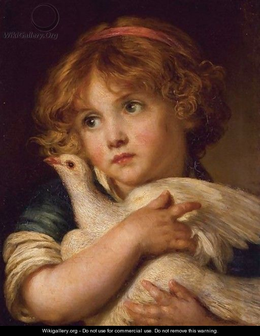 A Young Girl Holding A Dove - (after) Greuze, Jean Baptiste
