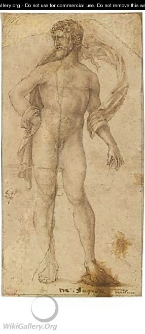 A Standing Male Nude, One Foot On A Turtle - Milanese School