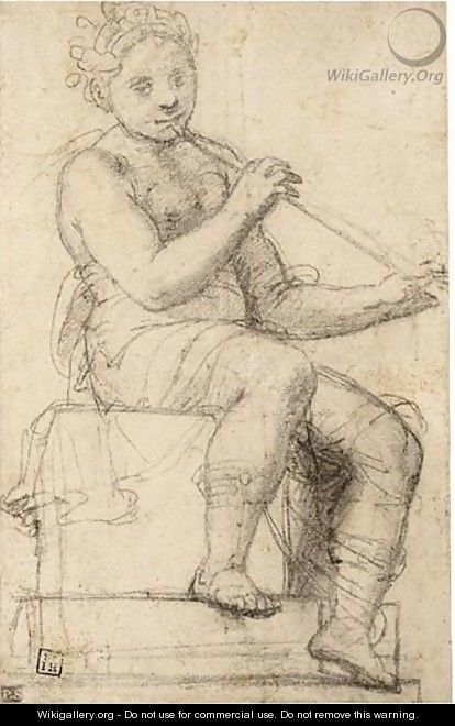 A Youth Playing A Pipe - Ferrarese School