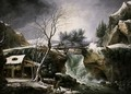 A Winter Landscape With A Waterfall And Peasants Chopping Wood - Francesco Foschi