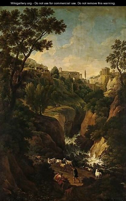 A Capriccio Of Tivoli, With Peasants And Animals By The Falls - Jan Frans van Orizzonte (see Bloemen)
