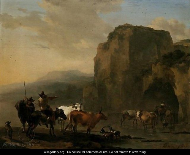 An Italianate Landscape With Herders, Cattle And Goats Fording A River - Nicolaes Berchem