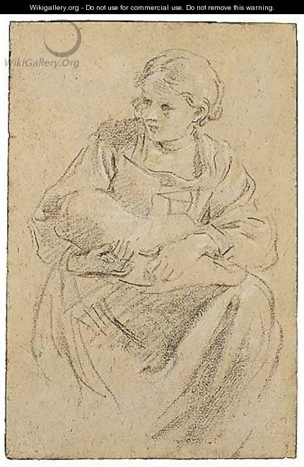 A Seated Woman Holding A Bundle - Domenichino (Domenico Zampieri)