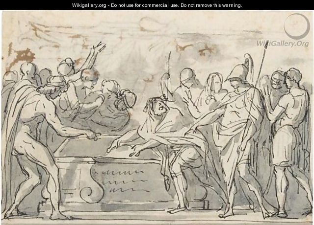 Sketch Of A Triumphal Procession, And A Study For The Figure Of Alexander - Jacques Louis David