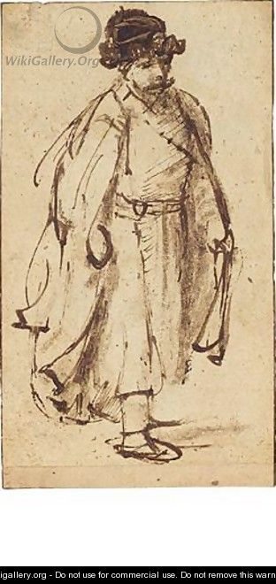 A Man In Fur Hat, Walking To The Right - (after) Rembrandt Van Rijn