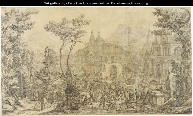 An Elaborate Landscape Capriccio, With Many Figures By A Fountain And Palatial Buildings Behind - Franco-Flemish School