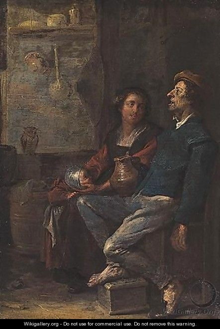 Interior With A Man Resting His Foot On A Foot Warmer, Together With His Wife And Child - Cornelis Saftleven