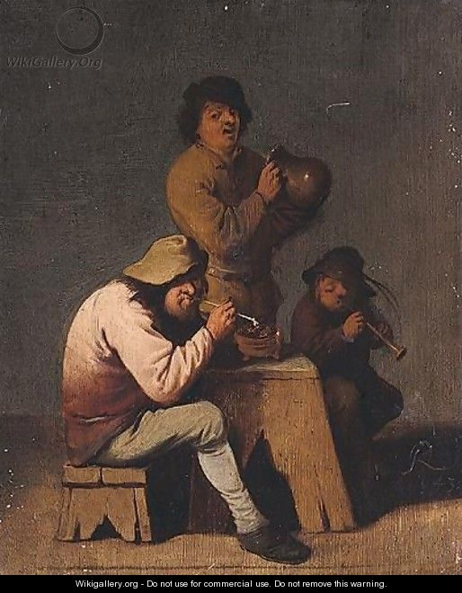 Interior With Boors Smoking, Drinking And Playing Music - Pieter Jansz. Quast