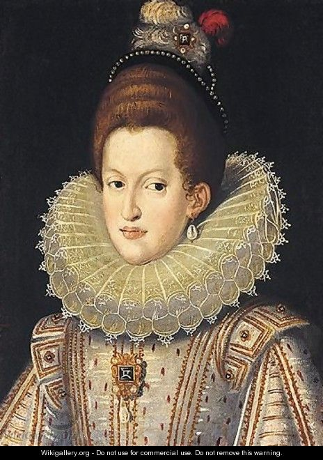 Portrait Of Margaret Of Austria, Half Length, Wearing A White Ruff - Frans, the Younger Pourbus