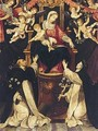 The Madonna Of The Rosary With Saints Dominic And Catherine - Bolognese School