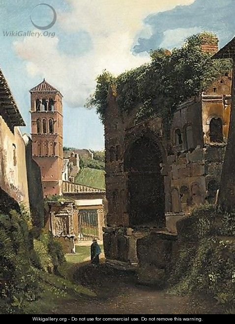 View Of An Italian Village With A Traveller On A Path Behind Ruins - French School