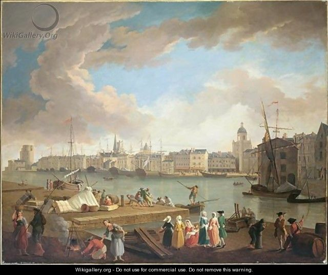 View Of The Port Of La Rochelle, From La Petite Rive - (after) Claude-Joseph Vernet
