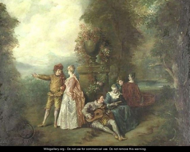 An Elegant Musical Party - (after) Watteau, Jean Antoine