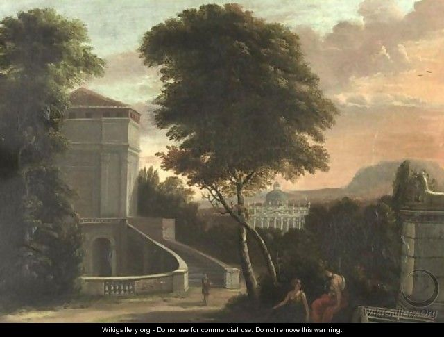 An Extensive Landscape With Classical Architecture And Figures In The Foreground - French School