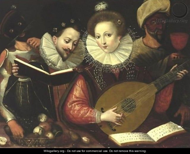 Musicians With A Lady Playing The Lute And Masked Figures In The Background - Flemish School