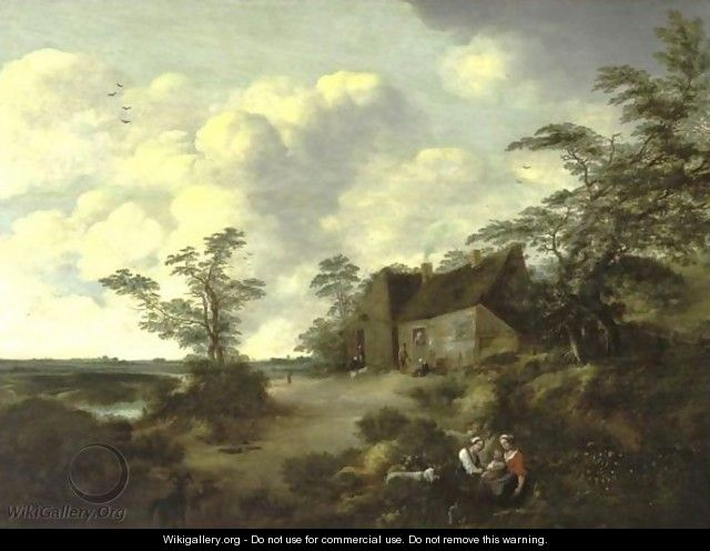 Figures Gathered Outside A Cottage In An Extensive Landscape - (after) Cornelis Van Zwieten