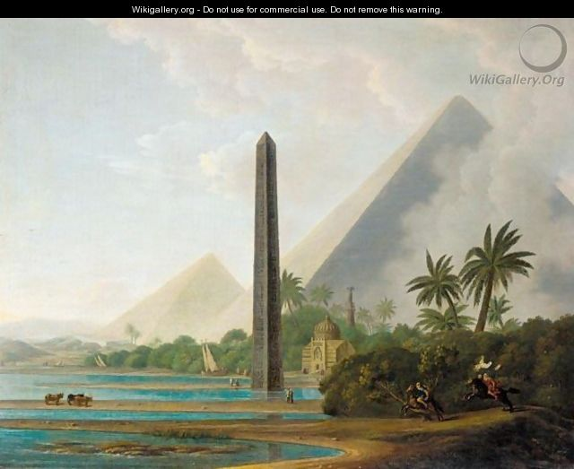 An Egyptian Capriccio Landscape With The Pyramids Of Giza And A Stone Needle On The Banks Of The Nile And Horsemen In The Foreground - Thomas Daniell