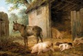 Pigs And A Donkey In A Farmyard - James Ward