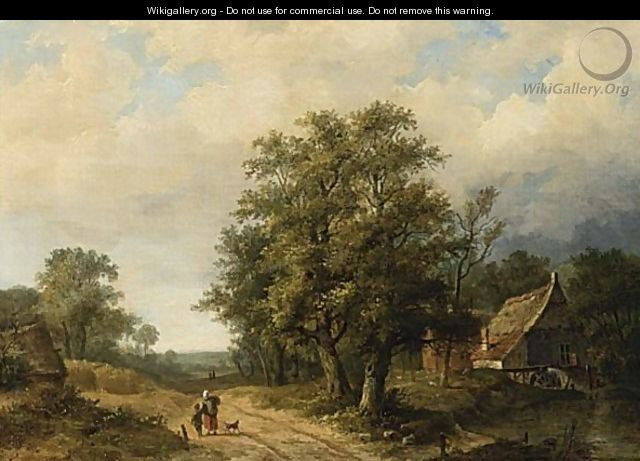 Figures On A Path In A Landscape - Hendrik Pieter Koekkoek