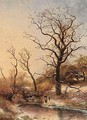 A Winter Landscape With Figures Near The Ice - Pieter Lodewijk Francisco Kluyver