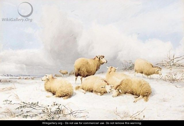 Sheep In A Snowy Landscape - Thomas Sidney Cooper