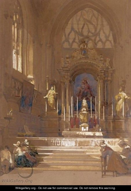 Figures Praying At The Altar Of A Church In Northern France - David Roberts